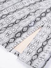 Snake Printed Split Short Skirt