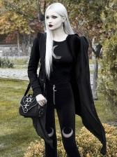 Black Moon Printed Zipper Velvet Pants