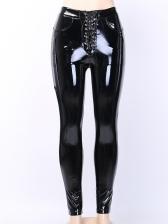 Gothic Bandage Pu All Black Pants