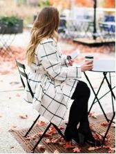 Plaid Women's Winter Coats With Belt