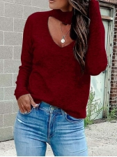 Solid Hollow Out Casual Sweaters For Women