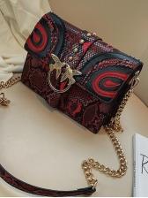 Snake Print Metal Birds Decorated Chain Shoulder Bag