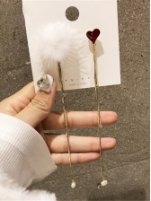Chic Heart Fuzz Ball Tassel Earrings