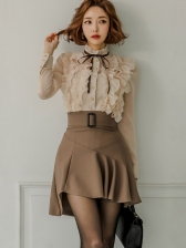 Stand Collar Ruffle Blouse With Ruffled Skirt