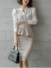 OL Style Stand Collar Blouse With Ruffle Pencil Skirt