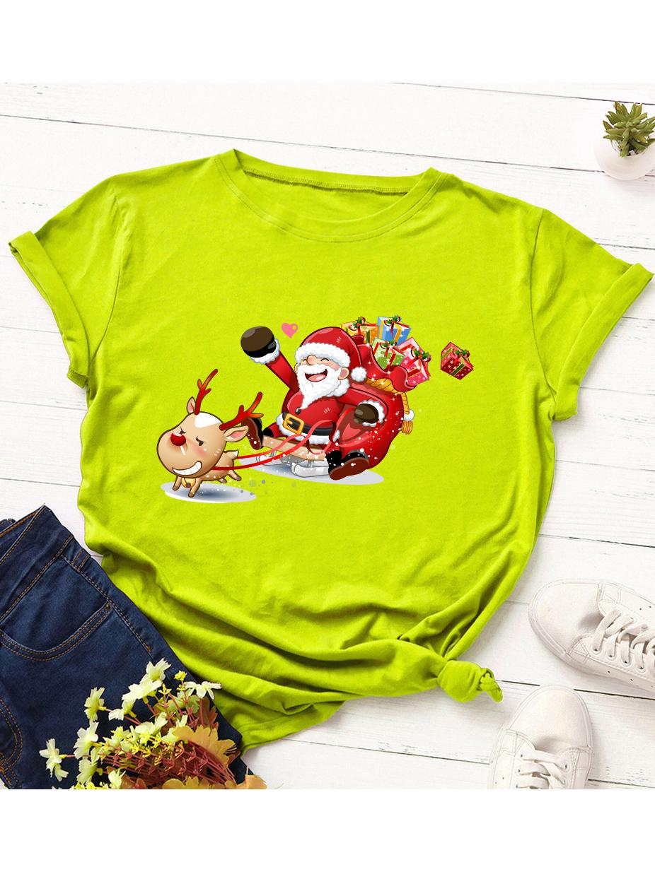 Cotton Christmas Printing T Shirts For Women