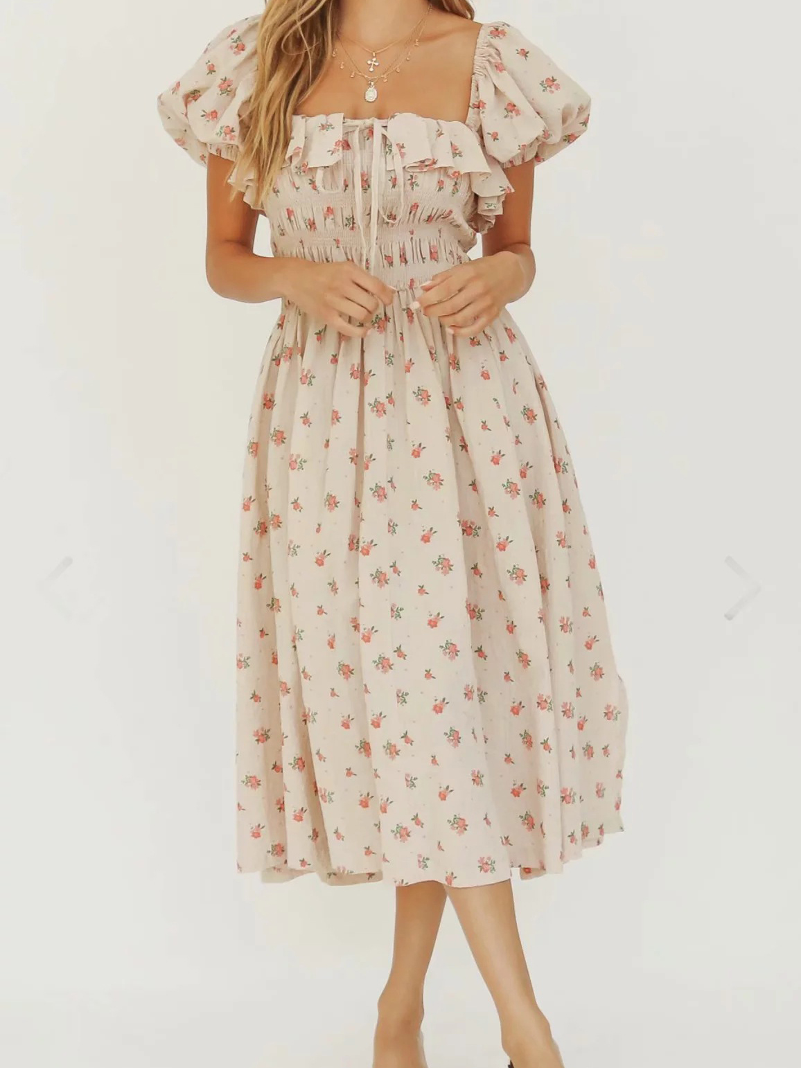 Ruffled Square Neck Short Sleeve Floral Dress