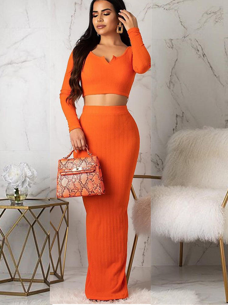 Solid Long Sleeve Cropped Two Piece Maxi Skirt Set