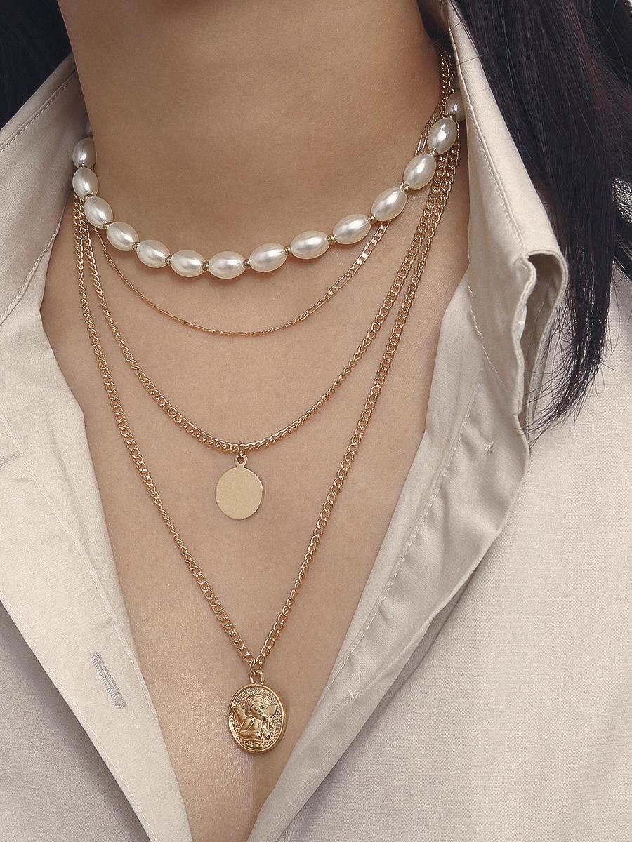Vintage Multi-Layer Angel Pendant Necklace
