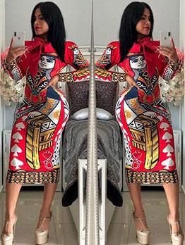 Printed Bow Neck Long Sleeve Midi Dress