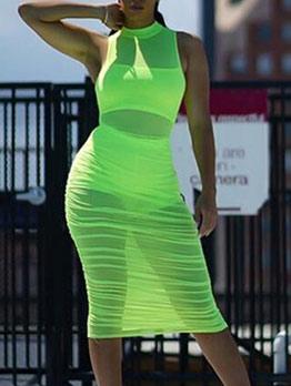 Stand Neck See Though Sleeveless Sheath Dress