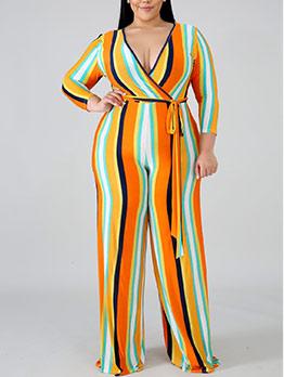 Wide Leg Plus Size Striped Jumpsuit