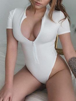 Solid Zipper Up Short Sleeve Bodysuit