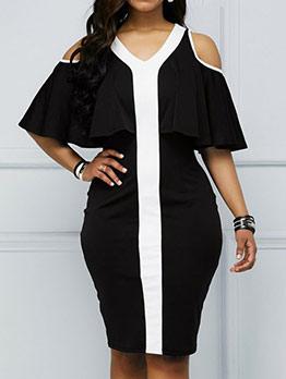 Overlay Cold Shoulder Black Short Sleeve Dress