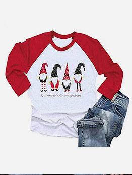 Christmas Santa Claus Print Long Sleeve T-shirts Women