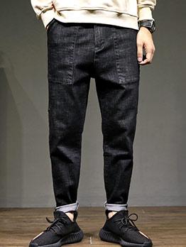 Loose Dual Pockets Solid Harem Mens Pants