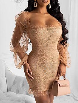 Gauze Patchwork Dot Long Sleeve Short Dress