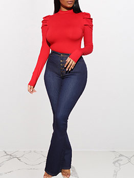 O Neck Pleated Sleeve Solid Bodysuits For Women