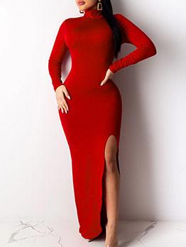 Puree Color Split Stand Collar Maxi Dress
