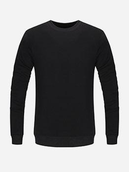 Solid Casual Long Sleeve Crew Neck Sweatshirt