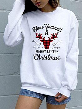 Letter Reindeer Printed Christmas Crewneck Sweatshirt