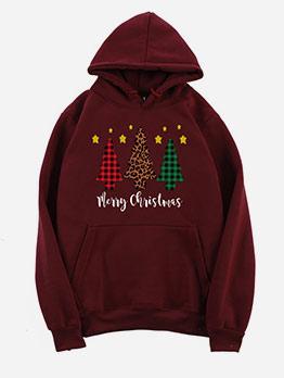 Christmas Tree Print Casual Hoodies For Women