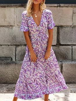 V Neck Bohemian Short Sleeve Floral Dress