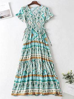 Floral Short Sleeve Slim Waist Beach Maxi Dress