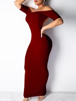 Boat Neck Backless Short Sleeve Maxi Dress Causal