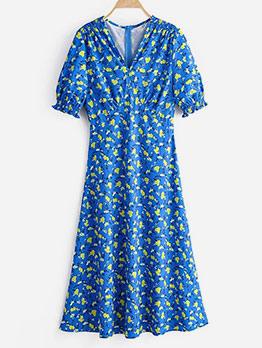 Blue Floral Short Sleeve Midi Dress