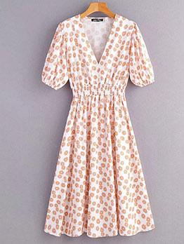Floral Slim Waist Short Sleeve Midi Dress