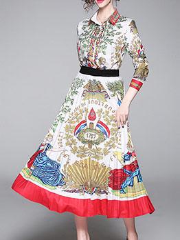 Multiple Pattern Print 2 Piece Pleated Skirt Set