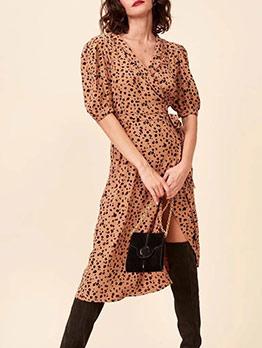 Vintage Leopard Printed Short Sleeve Wrap Dress