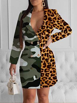 Camouflage Leopard Patchwork Ladies Blazer Dress