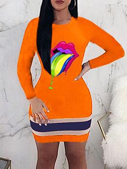 Euro Contrast Color Lip Pattern Dresses For Women