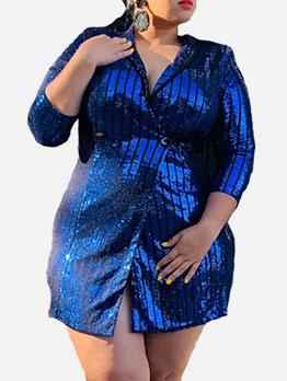 Ol Style Lapel Collar Sequin Blue Blazer For Women