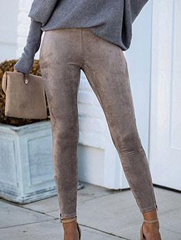 Versatile Solid Color Zipper Bottom Tight Pants