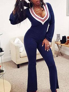 Contrast Color V Neck Flare Jumpsuits For Women