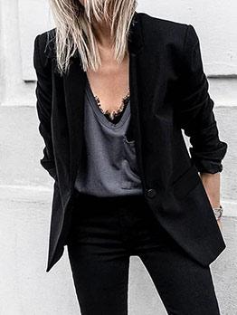 Office Ladies One Button Autumn Black Blazer