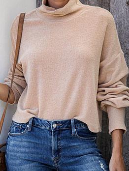 Minimalist Solid Color Women Turtleneck Sweater