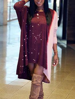 Contrast Color Asymmetric Hem Ladies Casual Dresses