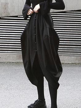 Single Breasted Lantern Black Midi Dress