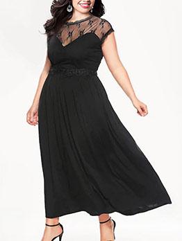 Lace Patchwork Plus Size Short Sleeve Maxi Dress