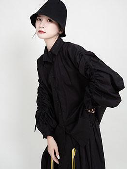 Drawstring Sleeve Solid Fashion Blouse