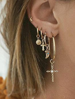 Punk Style Cross Crescent 5 Piece Gold Earrings