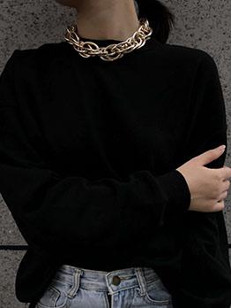 Simple Design Geometric Ellipse Chain Necklace