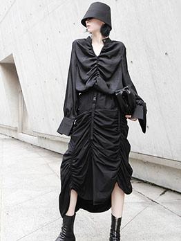Irregular Hem Ruffled Black Skirt