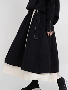 Ruffled Hem Black Maxi Dress