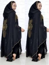 Hooded Collar Beading Decor Muslim Two Piece Dress