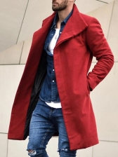 Leisure Single-Breasted Solid Mens Coats